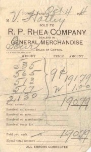 A receipt in the FHPL archives