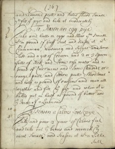 Recipe for an Egg Mince Pie from a c.1710 Scottish manuscript in the St. Andrews collection.