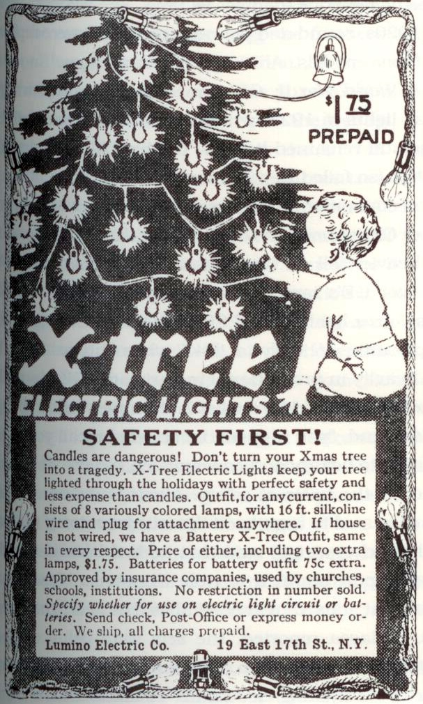 Ad emphasizing the safety of electric tree lights. Saturday Evening Post, November 1914.