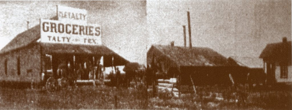 Mike Talty Store and the old Talty cotton gin, ca. 1912