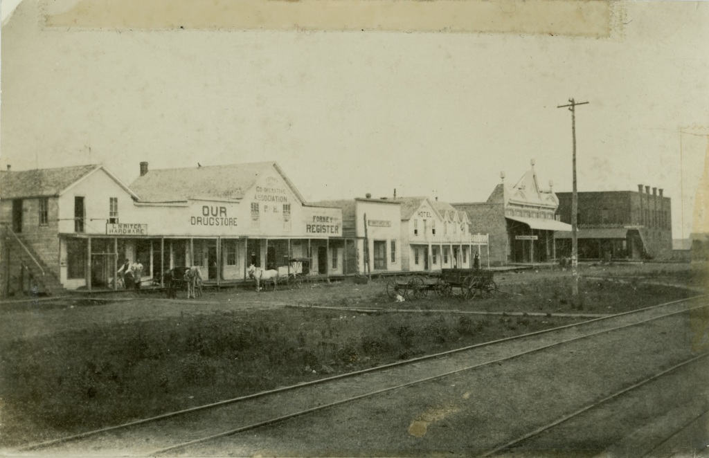 Downtown businesses in 1889 facing the railroad tracks.  This is Front St. (or tha back side of Main St. depending on how you look at it).