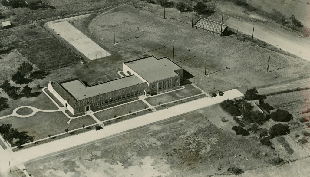 Forney HS, now FISD administration building, in a 1939 aerial shot. The school was built the year before.